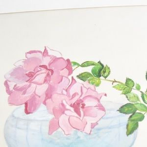 Vintage 1970s Rose Drawing Original Artwork Wall